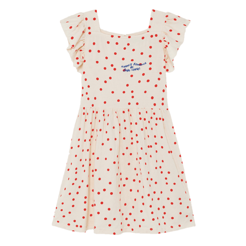 Bobo choses cream and red dot short sleeve dress for girls