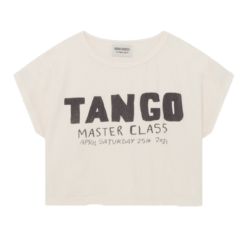 Bobo choses cream short sleeve tango girls graphic t-shirt