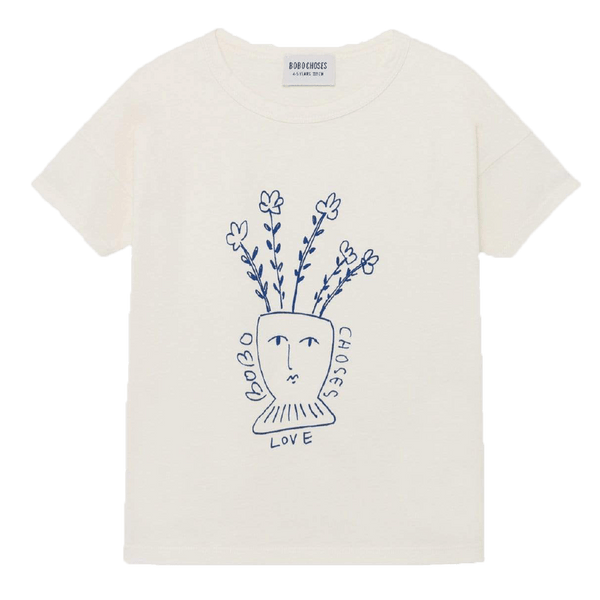 Bobo choses ivory short sleeve flower graphic girls t-shirt