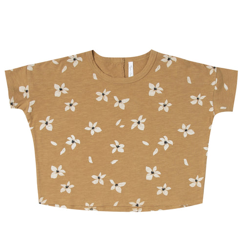 Girls boxy short sleeve tee with floral print