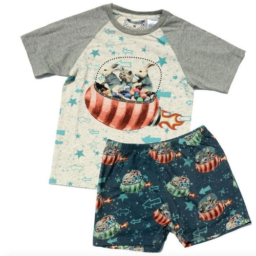 Short sleeve boys Easter pajamas with bunny graphic and print