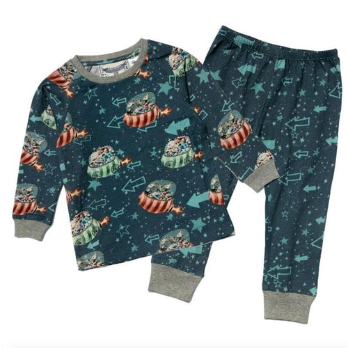 Navy blue bunny printed boys long sleeve pajama set