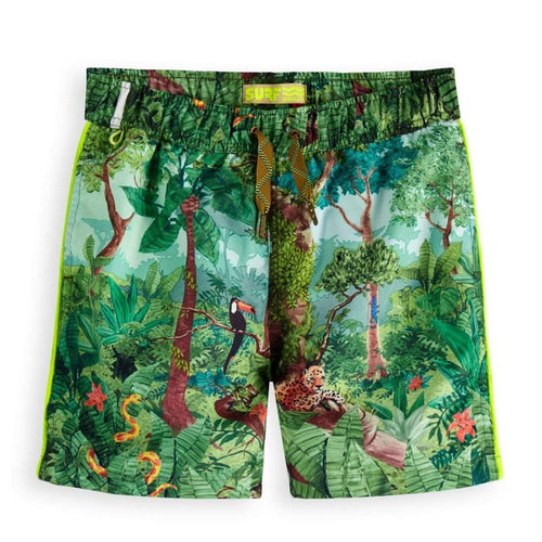 Rain forest printed boys swim trunks