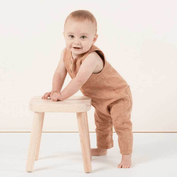 Rylee and Cru bronze baby jumpsuit romper