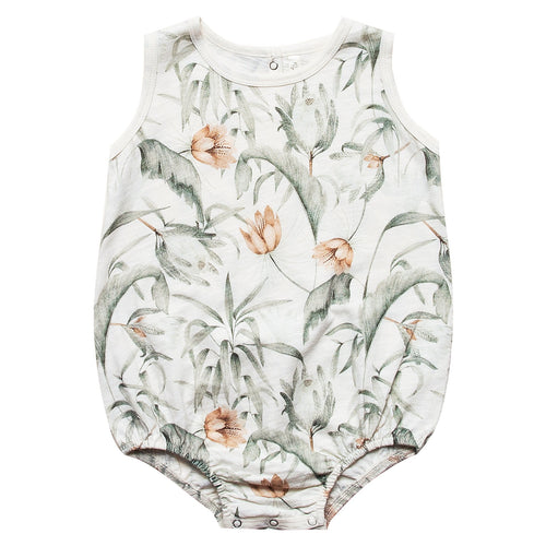 Baby girl cream bubble onesie with tropical print