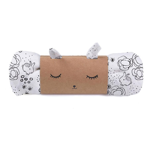 Black and white bunny printed baby swaddle in package
