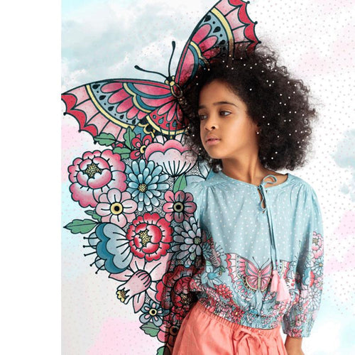 Blue girls peasant top with butterfly floral print and tassel
