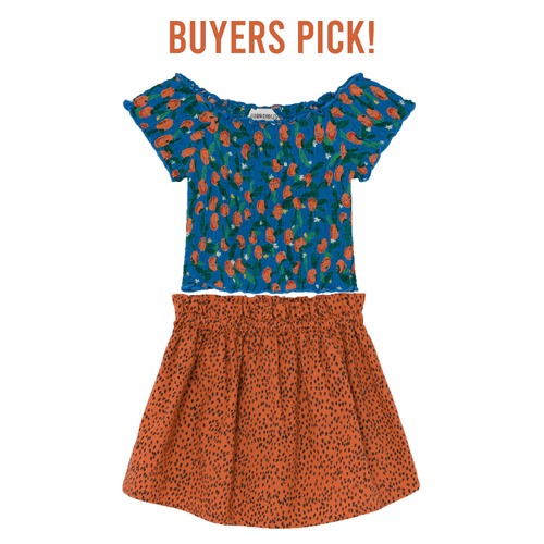 Bobo choses orange leopard print skirt for girls