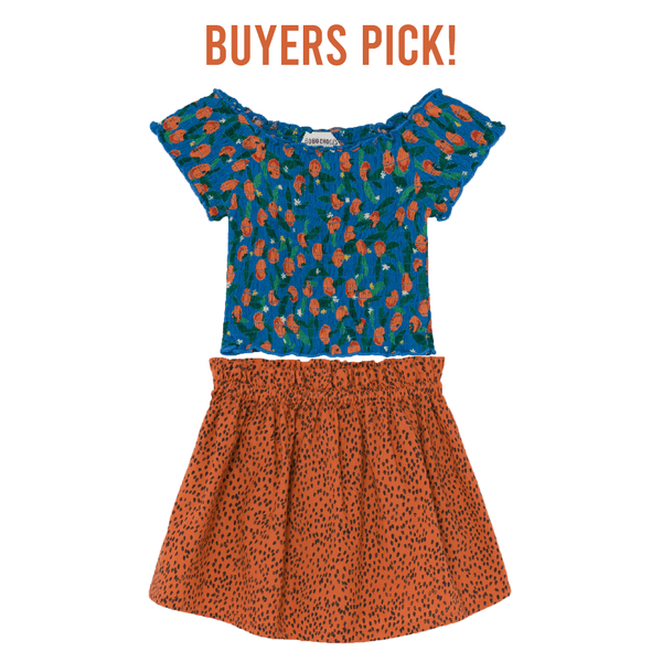 Bobo choses orange print short sleeve smocked top for girls