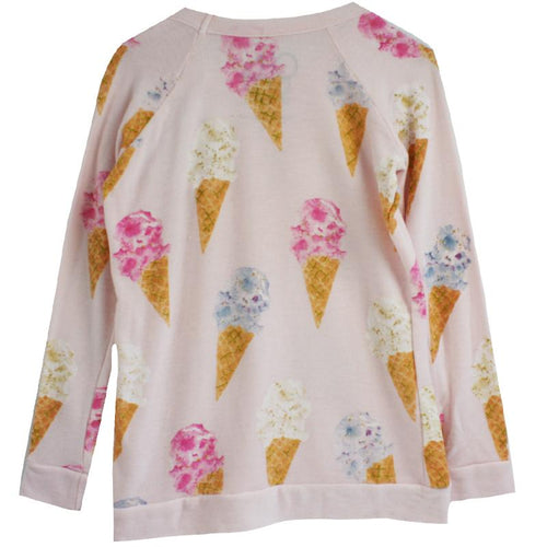 Girls pink sweatshirt with ice cream print