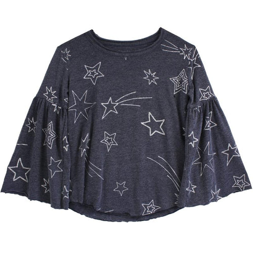 Girls navy blue star print top