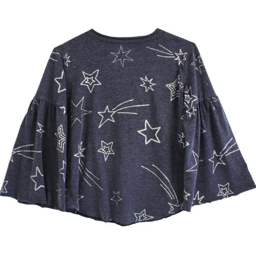 Navy blue long sleeve girls tee with shooting stars
