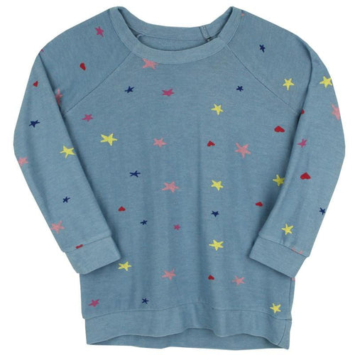 Chaser Kids blue pullover girls sweatshirt with heart and star print