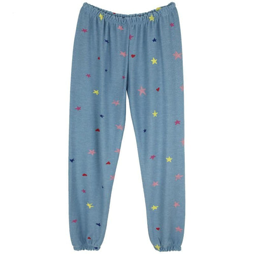 Chaser Kids blue jogger girls sweatpants with stars and hearts print