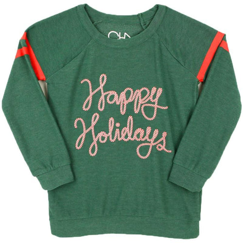 Chaser green happy holidays long sleeve girls sweatshirt