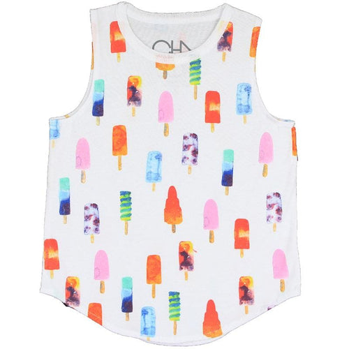 Girls white sleeveless tank top with rainbow ice pop graphic