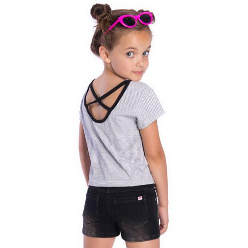 Black and white stripe girl tee with black cross back straps