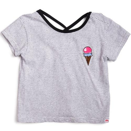 Black and white short sleeve tee with ice cream patch