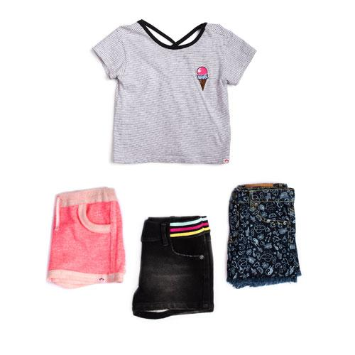 Black and white stripe ice cream girl tee with matching short options