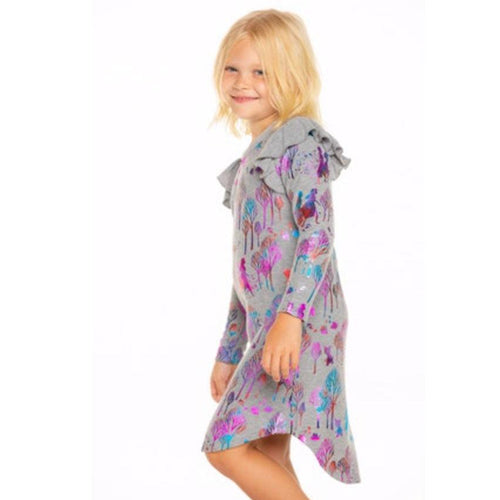 Chaser Frozen 2 metallic print grey girls knit dress