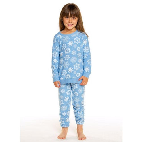 Chaser blue snowflake print girls joggers