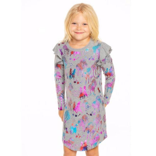 Chaser Frozen 2 metallic print girls knit dress