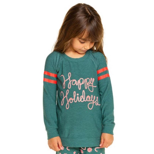 Chaser green happy holidays girls sweatshirt