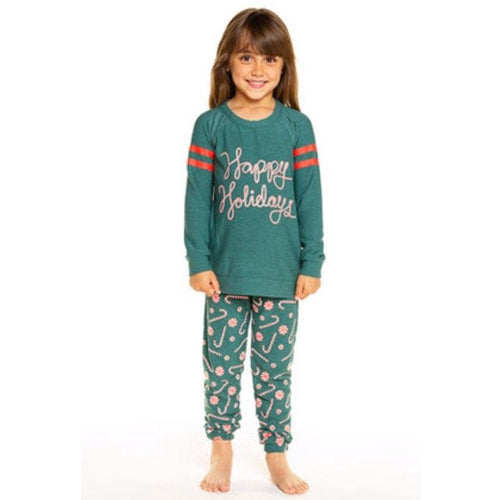 Chaser candy cane print girls joggers