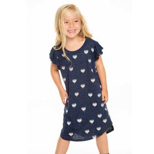 Chaser Kids heart printed short sleeve t shirt girls dress
