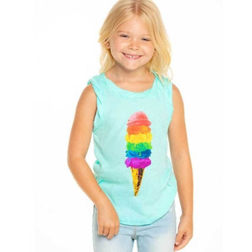 Chaser Kids blue girls tank top with ice cream graphic