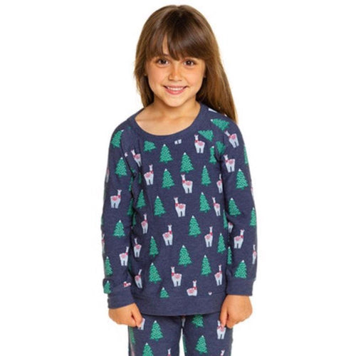 Chaser llama and tree print girls pullover sweatshirt