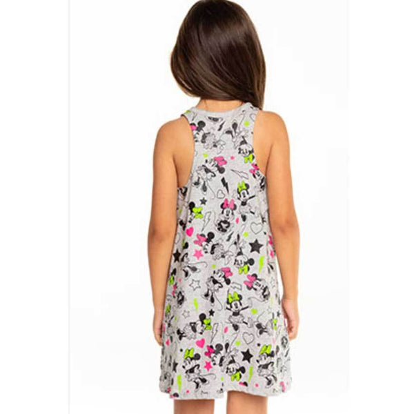 A-line tank girls dress with Minnie Mouse print