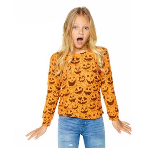 Chaser Jack-O-Lantern Love Knit Girls Pullover
