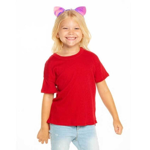 Chaser kids red boxy girls t shirt