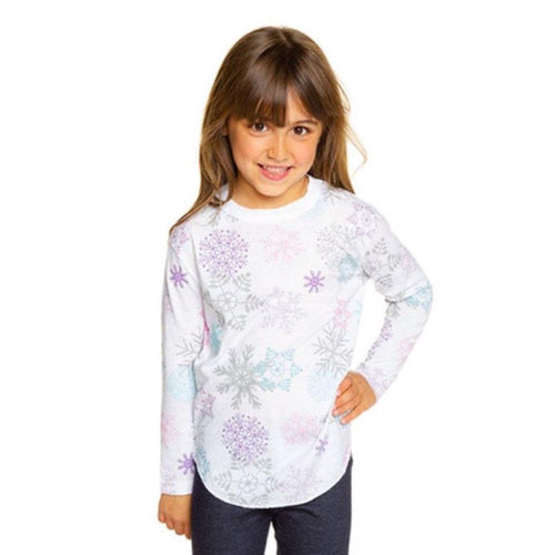Chaser snowflake print long sleeve girls tee