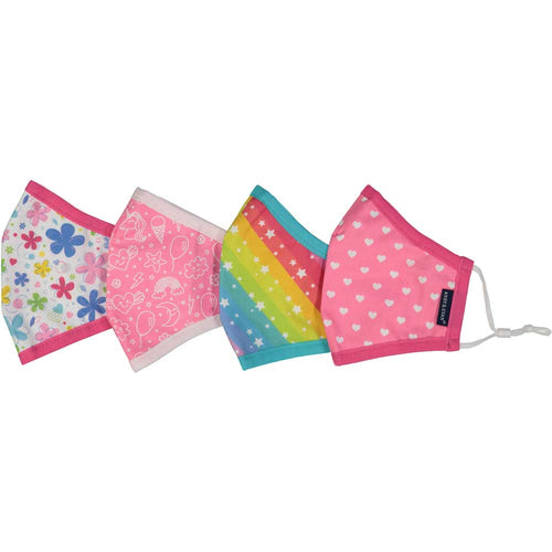 Cloth Face Mask Set 4 Pack -Flowers & Rainbow Stars - Child 2-7y