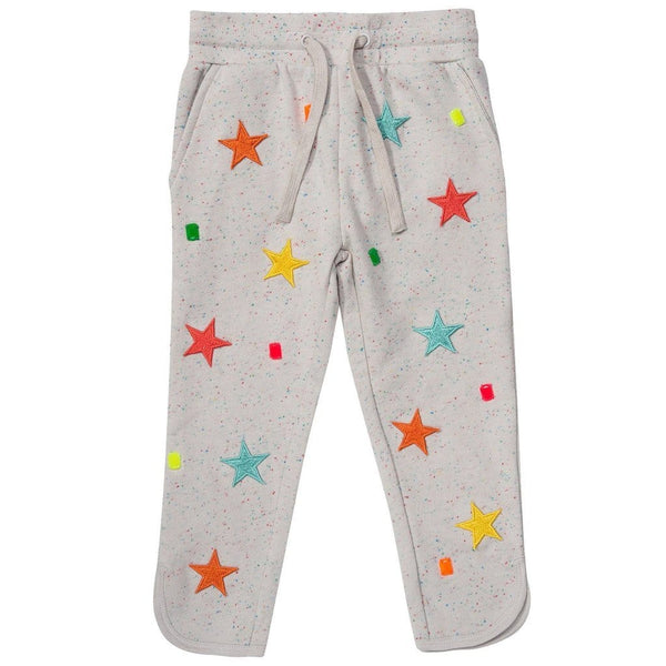 Stella mccartney grey girls joggers with stars and diamonds