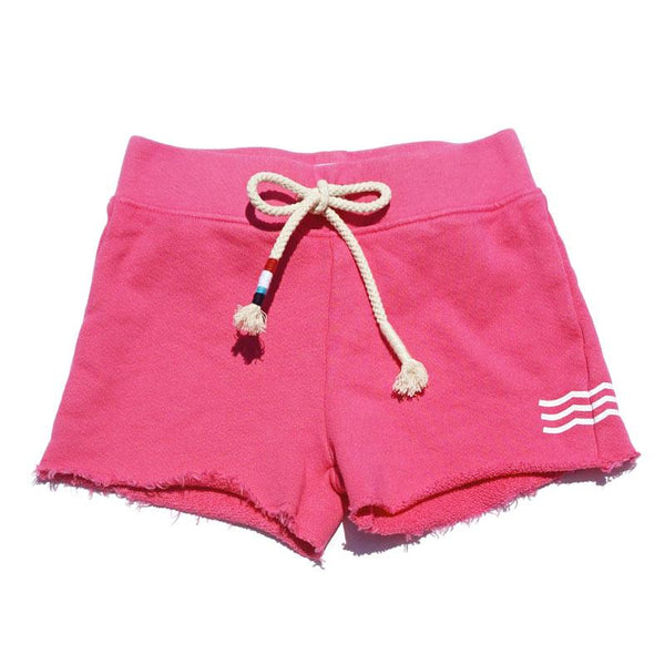 Dark pink girls track short with white wave print and drawstring