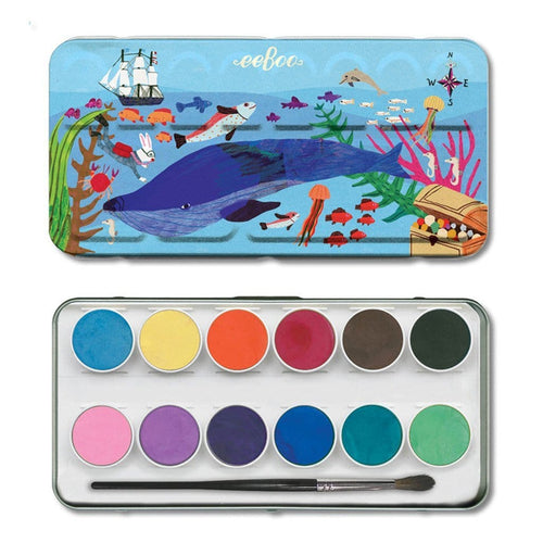 Eeboo Kids watercolor paints ocean themed tin