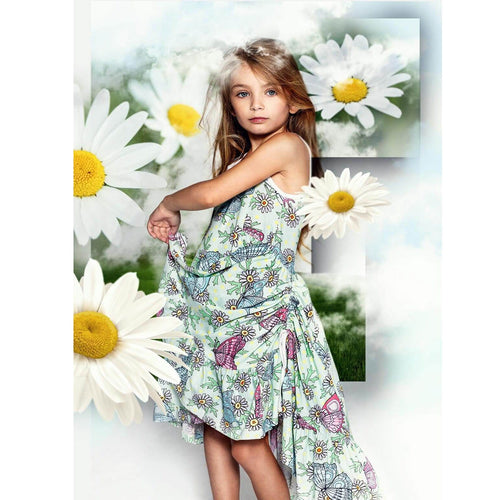 Paper wings blue and pink butterfly print twirl dress for girls