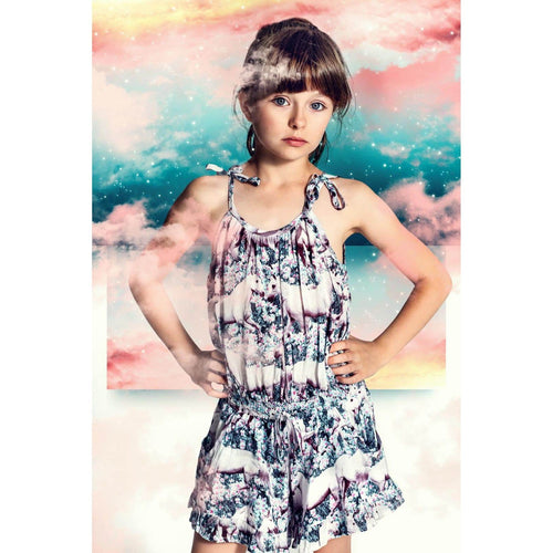 Paper wings unicorn print romper for girls