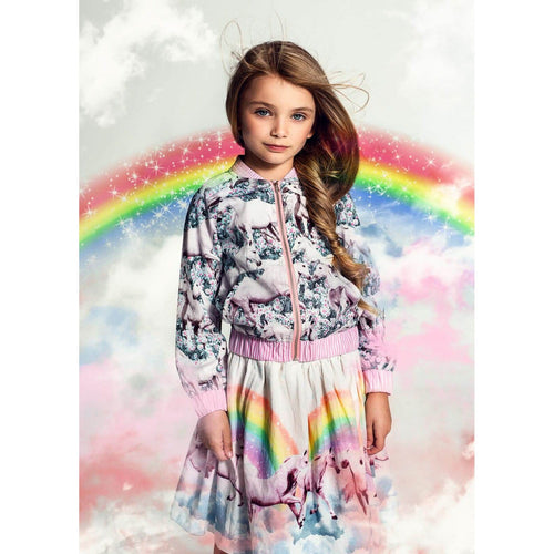 Paper wings unicorn print bomber jacket for girls