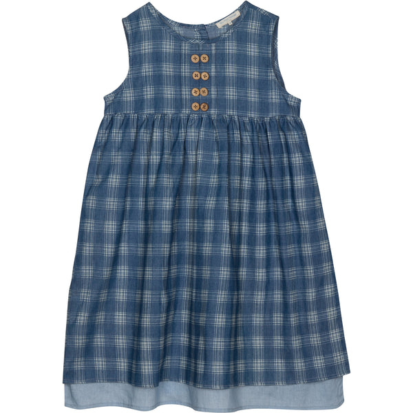 Girls blue check sleeveless dress with buttons