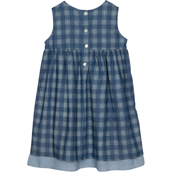 Sleeveless check dress in blue for girls