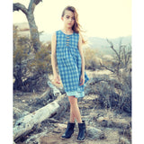 Knee length blue check sleeveless girls dress