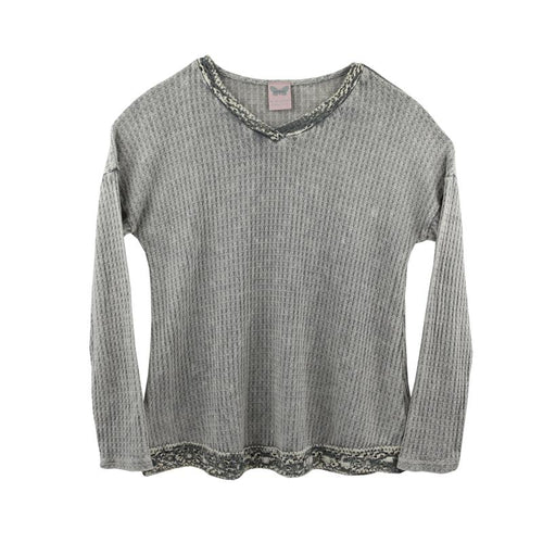 Grey waffle knit long sleeve tween top with embroidered trims