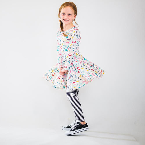 Rock and Roll print girls twirl dress