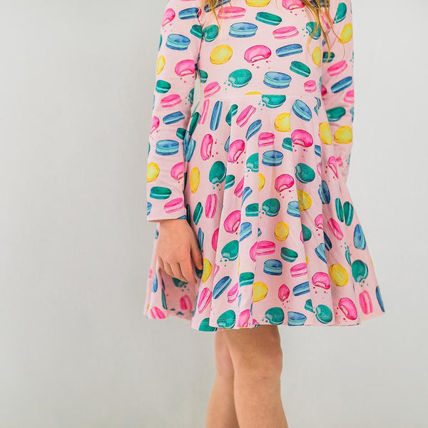Girls colorful twirl macaron dress