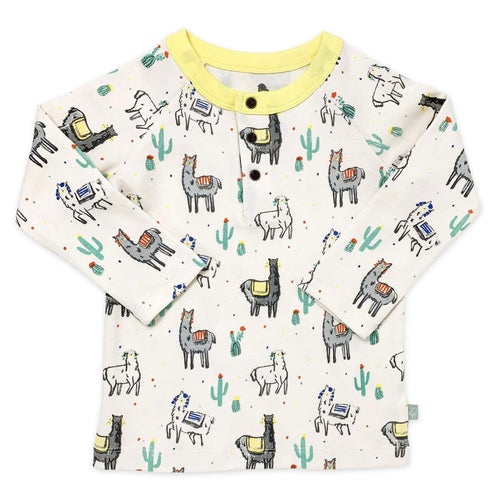 Finn and Emma long sleeve llama print baby tee