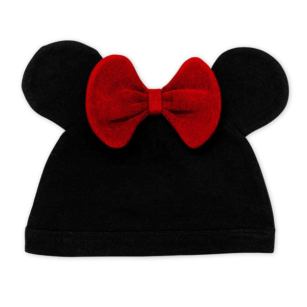 Finn + Emma Baby Girl Black Minnie Mouse with Bow Hat